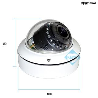 カメラ部の寸法図