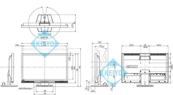 FDF2306W 寸法図 EIZO
